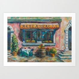 Stone Stairs Restaurant Art Print