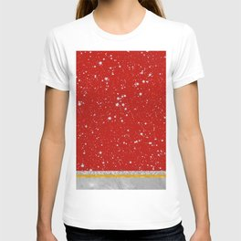 Glitter Stars - Silver Red (Happy Holiday version) T-shirt