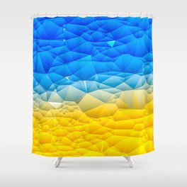 Sunshine and Blue Sky Quilted Abstract Shower Curtain