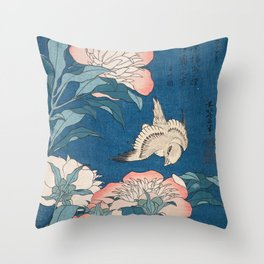 Katsushika Hokusai - Peonies and Canary, 1834 Throw Pillow