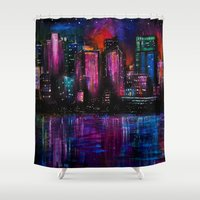 cityscape Shower Curtains featuring Cityscape by Brittany Burkard