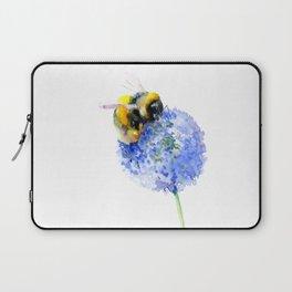 Bee and Flower, Blue Yellow Bumblebee Art Laptop Sleeve