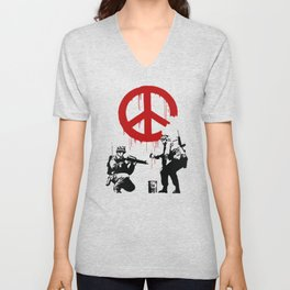 Soldiers Painting Peace Symbol, Banksy, Streetart Street Art, Grafitti, Artwork, Design For Men, Wom Unisex V-Neck