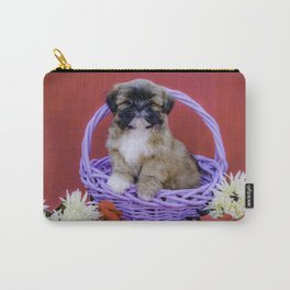 Brown and White Shih Tzu Puppy Standing in a Purple Basket with Flowers in Front of a Red Background Carry-All Pouch