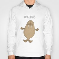 walrus Hoodies featuring Walrus by Carl Batterbee Illustration