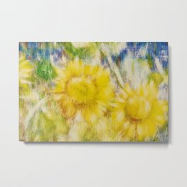 Sunflowers, Tuscany, Italy; Thinking of You As Always portrait painting Metal Print