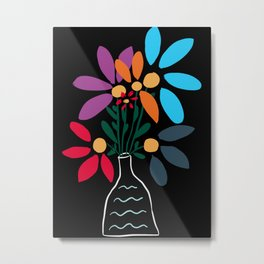Minimal Line Art Bouquet of Flowers Still Nature  Metal Print