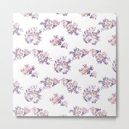 Hand painted pink lavender watercolor modern roses Metal Print