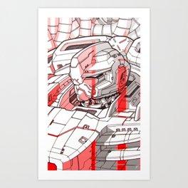 Red Mecha Art Print