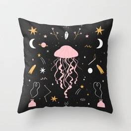 Magic Jellyfish Throw Pillow