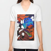 sports V-neck T-shirts featuring Sports Fans by Jake Dorr