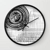 data Wall Clocks featuring Techno data ring #1 by Juliana RW