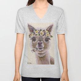 Holly The Alpaca, Alpaca Art Unisex V-Neck