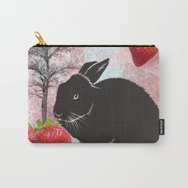 Black Rabbit and Strawberries Carry-All Pouch