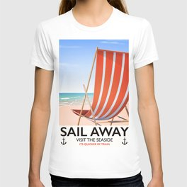 Sail Away Deckchair travel poster T-shirt