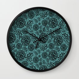 Flowery black Wall Clock