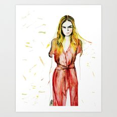 Girl in a red dress  Art Print