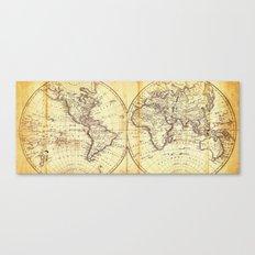 The world in hemispheres 1825 Canvas Print