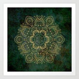 Golden Flower Mandala on Dark Green Kunstdrucke