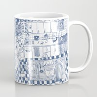 kitchen Mugs featuring Kitchen by The Printed Peanut
