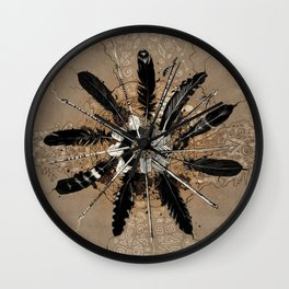 native vintage mandala Wall Clock