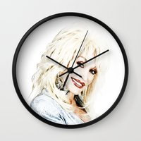 dolly parton Wall Clocks featuring Dolly Parton - Pop Art by William Cuccio aka WCSmack