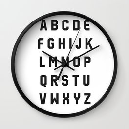 Typography Alphabet #2 Wall Clock