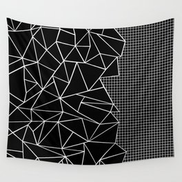 Abstract Grid Outline White on Black on Side Wall Tapestry