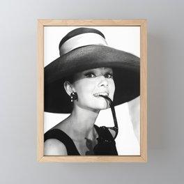 Audrey Hepburn Portrait, Black and White Vintage  Framed Mini Art Print
