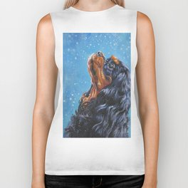 Beautiful black and tan Cavalier King Charles Spaniel Fine Art Dog Painting by L.A.Shepard Biker Tank