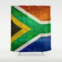south africa Shower Curtains featuring National flag of the Republic of South Africa by Bruce Stanfield