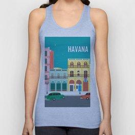 Havana, Cuba - Skyline Illustration by Loose Petals Unisex Tank Top