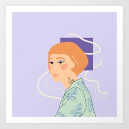the girl with the snake tattoo Art Print