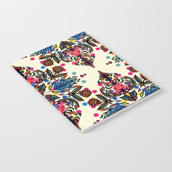 Bright Folk Art Pattern - hot pink, orange, blue & green Notebook