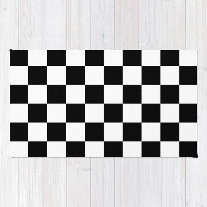 Black White Checker Checkerboard Checkers Rug