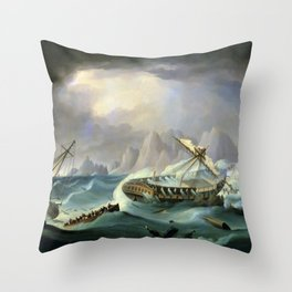 Shipwreck Off A Rocky Coast - Thomas Buttersworth Throw Pillow