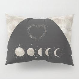 Silver Moon Phases Abstract Geometric Art Pillow Sham