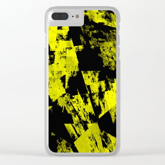 Fractured Warning - Black and yellow, abstract, textured painting Clear iPhone Case