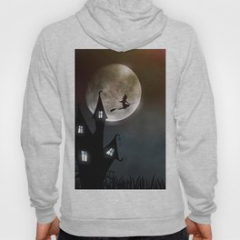 Drawing of a witch leaving her house on a broom in front of a full moon Hoody