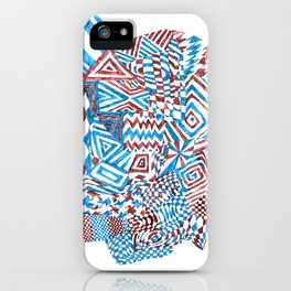 Face, Blue/Red Abstract (Ink Drawing) iPhone Case