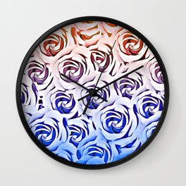 rose pattern texture abstract background in pink and blue Wall Clock