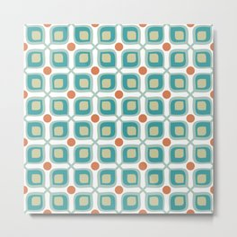 Abstract Flower Pattern Mid Century Modern Retro Turquoise Orange Metal Print