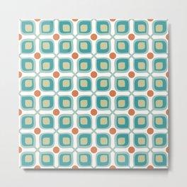 Abstract Flower Pattern Mid Century Modern Retro Turquoise Orange Metal Print