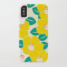 Japanese Style Camellia - Yellow and White iPhone Case