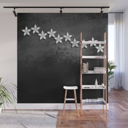 Spectacular silver flowers on black grunge texture Wall Mural