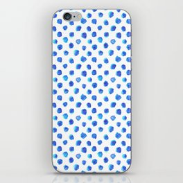 Watercolor Tie Dye Dots in Indigo Blue iPhone Skin