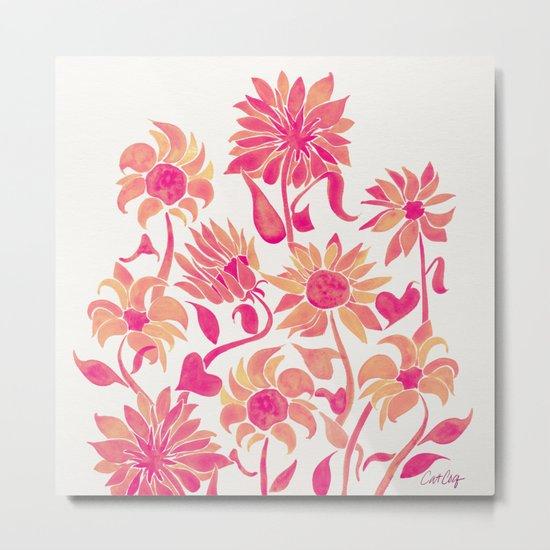 Sunflower Watercolor – Pink Palette Metal Print