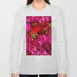 Fuchsia & Red Geraniums Floral Garden Art Long Sleeve T-shirt