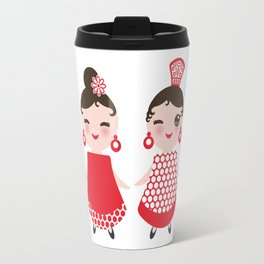 Spanish Woman flamenco dancer. Kawaii cute face with pink cheeks and winking eyes. Gipsy girl Travel Mug