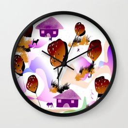 Countryside,village design Wall Clock